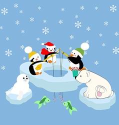Pengiuns seal and bear fishing vector image