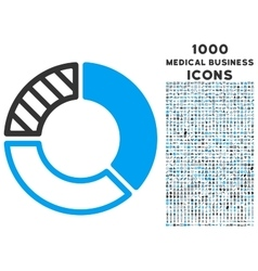 Pie chart icon with 1000 medical business icons vector