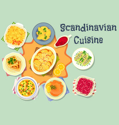 Scandinavian cuisine tasty dinner icon design vector