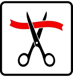 scissors cutting red ribbon vector image vector image