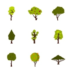 Trees icons set flat style vector