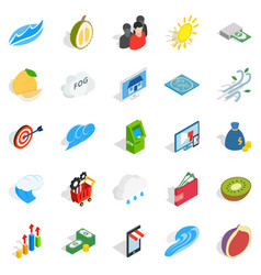 Universal icons set isometric style vector