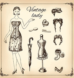 Vintage lady and her toilet articles hand drawing vector