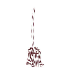 witch broom in brown dotted silhouette on white vector image
