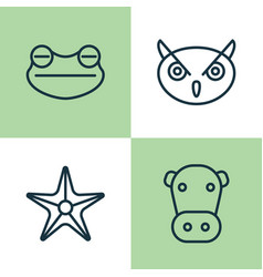 Zoo icons set collection of kine starfish toad vector