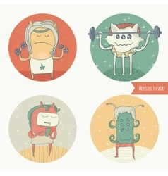 Set of fun monster icons doing sport exercises in vector