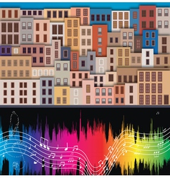 old city and musical notes vector image