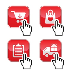Shopping buttons set with cursor hand icon vector
