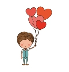 Man with heart shaped balloons vector