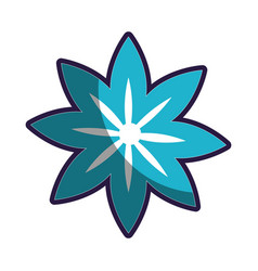 blue silhouette figure flower icon floral vector image
