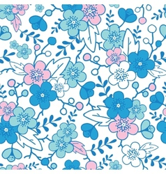Blue and pink kimono blossoms seamless pattern vector
