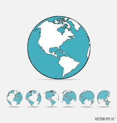 Set of modern globe drawing concept vector