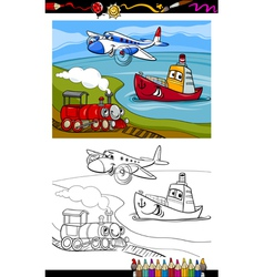 Cartoon plane train ship coloring page vector