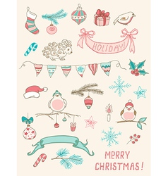 Set of christmas doodle design elements vector