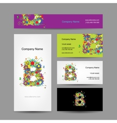 Set of business cards with floral letter b design vector