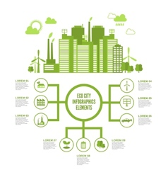 Eco town infographic vector