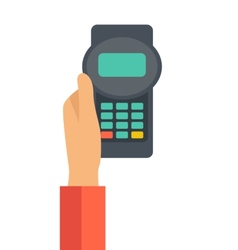 Holding credit card machine vector
