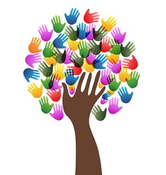 Isolated diversity hands tree background vector
