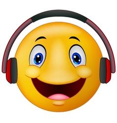 Emoticon with headphones vector image