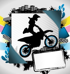Motorcyclist summer frame vector