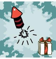 Firecracker rocket doodles vector image
