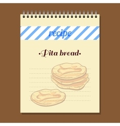 Recipe book pita bread vector