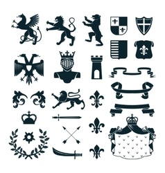 Heraldic symbols emblems collection black vector