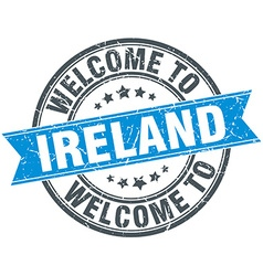 Welcome to ireland blue round vintage stamp vector