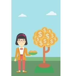 Business woman catching dollar coins vector