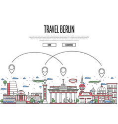 air travel to berlin poster in linear style vector image vector image