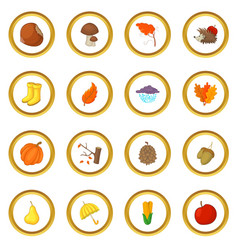 Autumn items icons circle vector