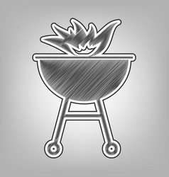 Barbecue with fire sign pencil sketch vector