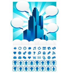 Blue City and Icons vector image vector image