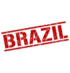Brazil red square stamp vector image vector image