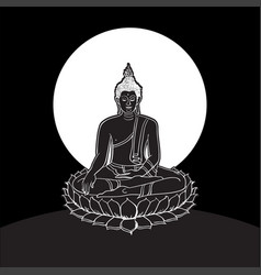 buddha statue line drawing vector image