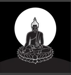 Buddha statue line drawing vector