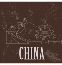 China landmarks retro styled image vector