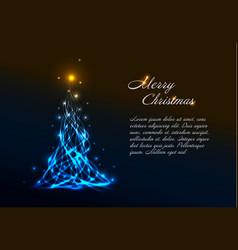 christmas card template with light christmas tree vector image vector image