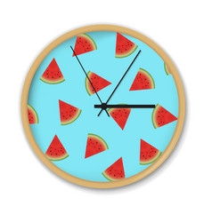 Clock with watermelon pattern vector
