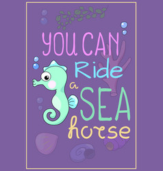 Cute seahorse cartoon vector