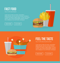 Fast food banner unhealthy fast food vector
