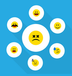 Flat icon face set of joy asleep cheerful and vector