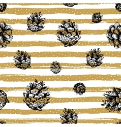 Gold strips and fir cones seamless pattern on vector