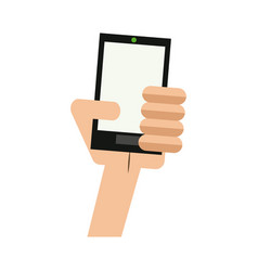hand holding smartphone technology device vector image