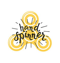 Hand spinner lettering and icon vector