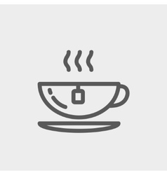 Hot tea in a cup thin line icon vector image