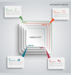 Info graphic with white abstract square pointers vector
