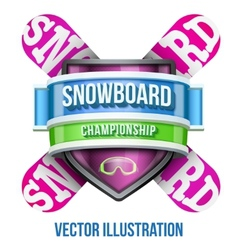 Label for snowboard and winter sport competition vector image