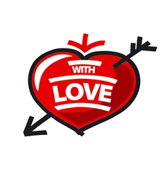 Logo red heart and arrow vector