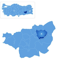Map of diyarbakir - hazro is pulled out vector